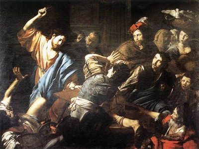 Jesus whipping the money changers